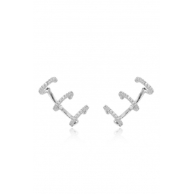 Neo Piercing Triple-Hoop Silver Zirconia