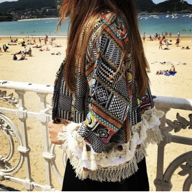 Kimono Boho Negro y Colores