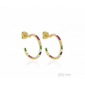 Pendientes Aros Cristal Multicolor