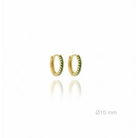 Pendientes Aros Mini Cristal Verde